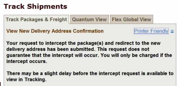 UPS Intercept Web Page screen shot