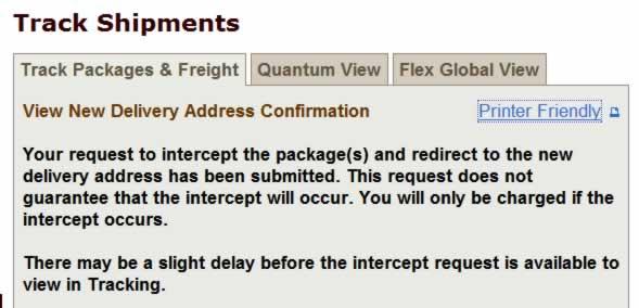 UPS Intercept Web Page screen shot